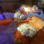 Spicy Sweetheart shrimp stuffed with caramelized onion and Goat Cheese