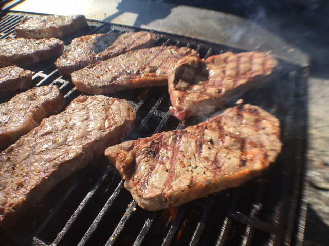 Grilled NY Strip Steaks